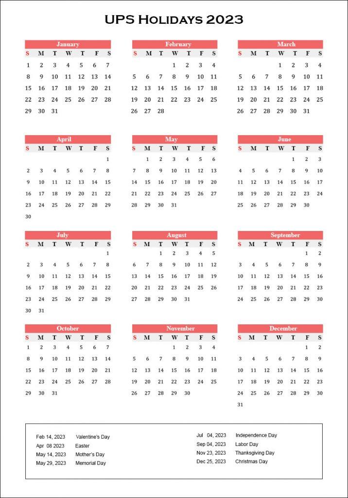 UPS Holidays Schedule 2023