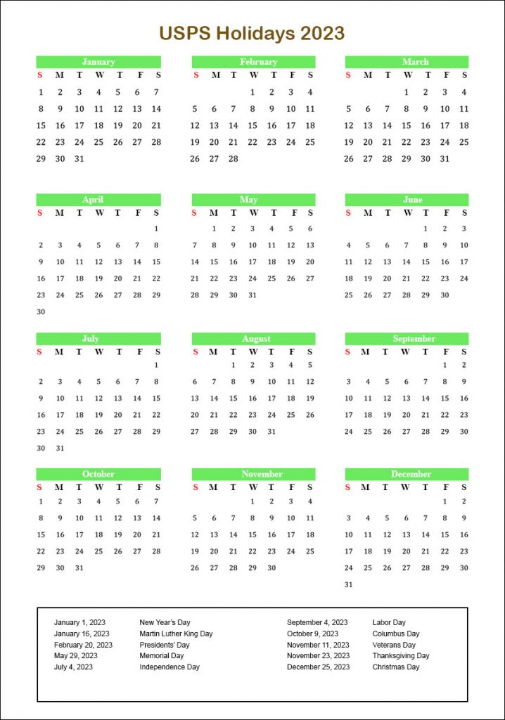 USPS Holidays 2023 Holiday Schedule