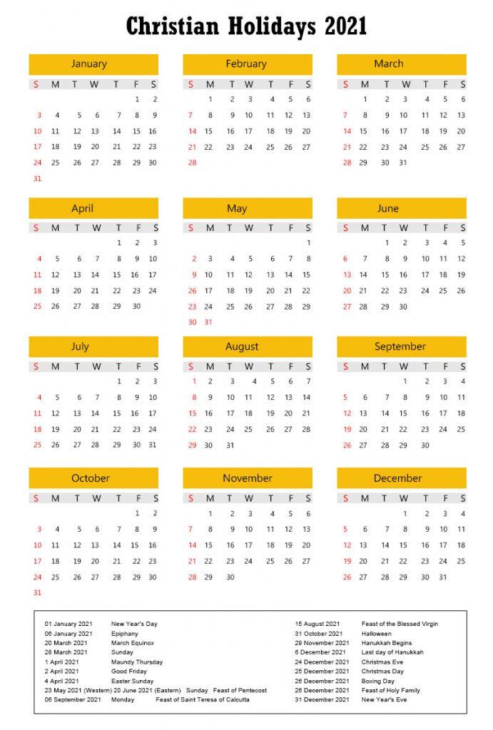 Calendar 2021 with Christian Holidays